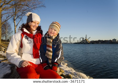 Young boy an mom - stock photo