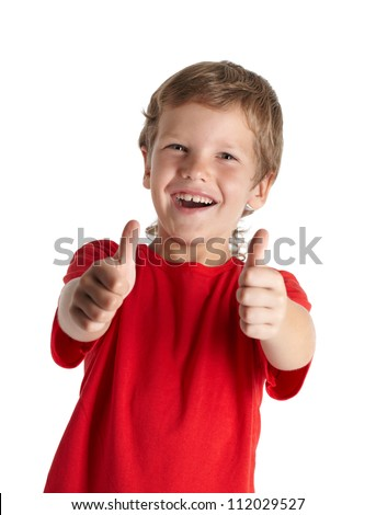 Young boy giving you thumbs up isolated on white background - stock photo