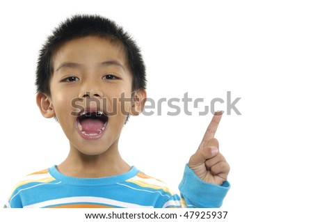 Young boy have a good idea - stock photo