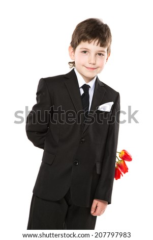 Young boy hide tulips isolated on white  - stock photo