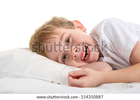 Young Boy holding his lost tooth - stock photo
