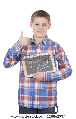 young boy holding slate on white background - stock photo