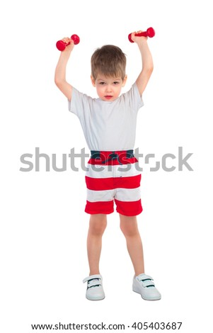 Young boy holding two dumbbells above his head isolated on white background - stock photo