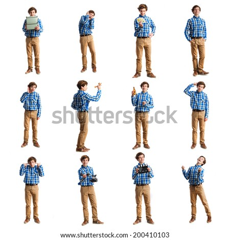 Young boy images set - stock photo