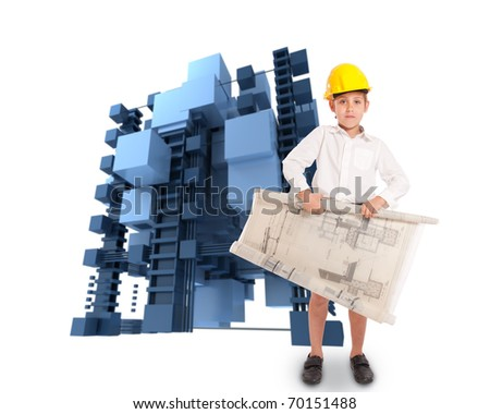 Young boy in school uniform wearing a yellow safety helmet and holding blueprints with an abstract structure in the background - stock photo