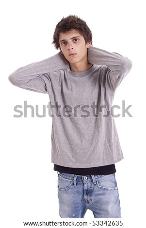 young boy isolated on white - stock photo