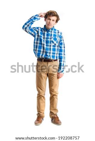 young boy not understanding gesture - stock photo