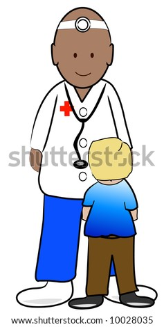 young boy patient talking to his doctor - stock photo
