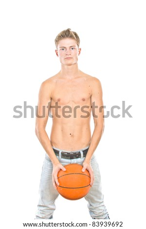 young boy playing basketball, isolated over white - stock photo