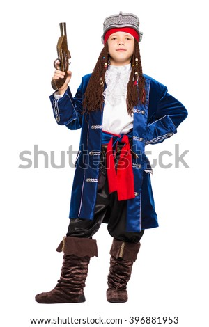 Young boy posing in a suit of pirate. Isolated on white - stock photo