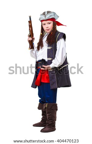 Young boy posing in pirate costume with a gun. Isolated on white - stock photo