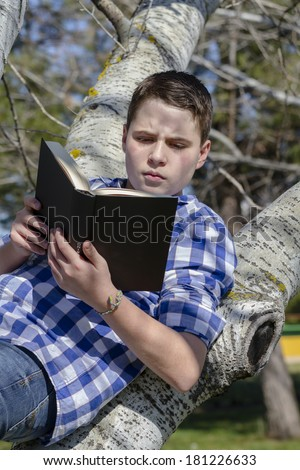 Young boy reading a book in the woods with shallow depth of field and copy space - stock photo