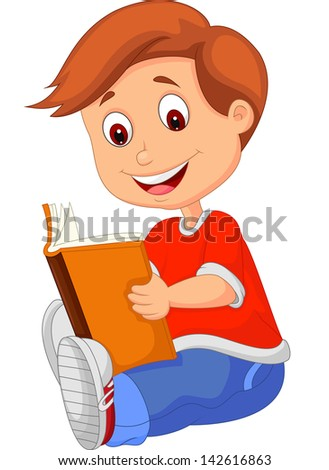 Young boy reading book - stock photo