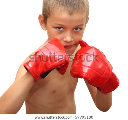 Young boy ready to box - stock photo