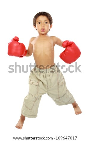 Young boy ready to box. isolated on white - stock photo