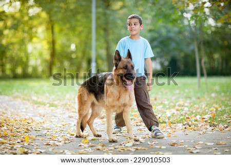 young boy relaxing and walking with  German Shepherd in park  - stock photo