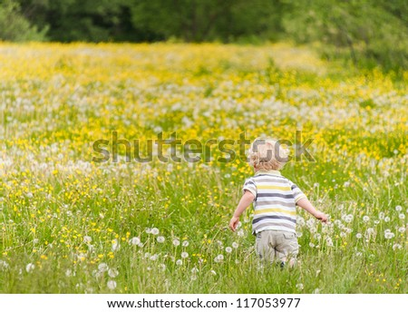 Young boy running on the flower meadow - stock photo