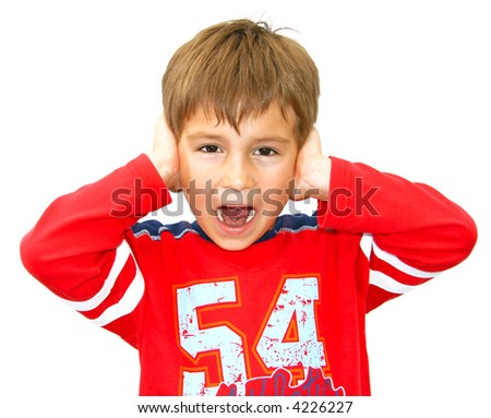 Young boy screaming with hands beside ears (isolated) - stock photo