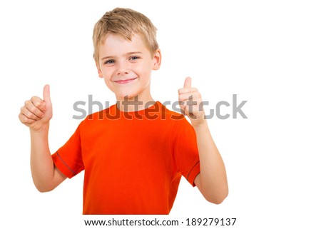 young boy showing thumbs up gesture isolated on white background - stock photo