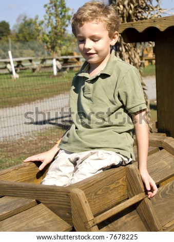 Young boy sitting on wooden playground equipment smiling - stock photo
