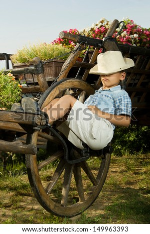 Young boy sleeping in garden on the old carriage  - stock photo