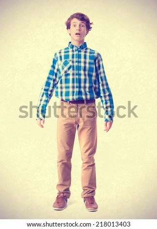 young boy stranged gesture - stock photo