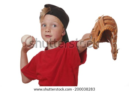 Young boy throws a baseball on white background - stock photo