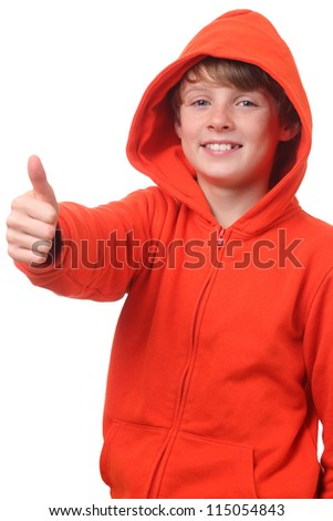 Young boy wearing a hoodie shows thumbs up on white background - stock photo