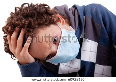 young boy with a medical mask, and the hand on head, isolated on white background, studio session - stock photo