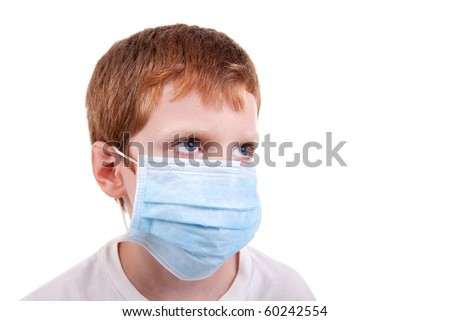 young boy with a medical mask, isolated on white, studio session - stock photo