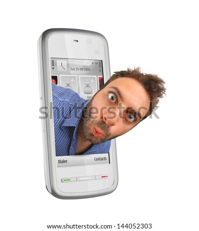 Young boy with a surprised expression in the smartphones - stock photo