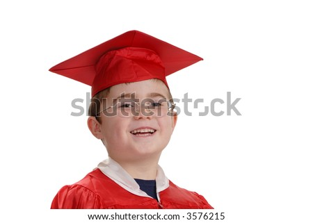 Young boy with big smile in red graduation cap and gown, horizontal, isolated on white - stock photo