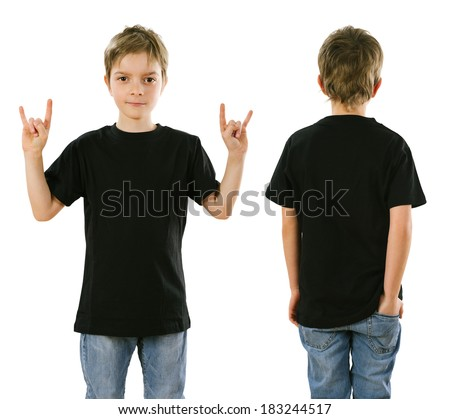 Young boy with blank black t-shirt, front and back. Ready for your design or artwork. - stock photo