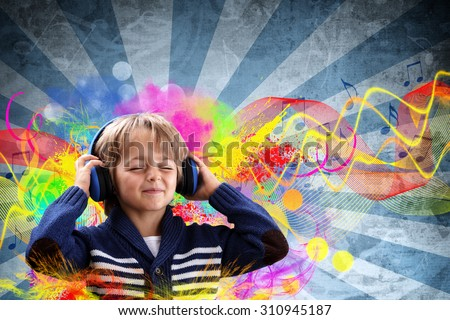 Young boy with headphones listening to music with colorful funky grunge retro background - stock photo