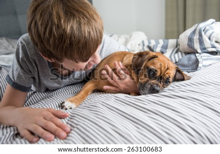 Young Boy with His Small Fawn Puggle Dog - stock photo