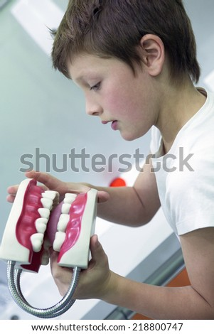 Young boy with jaw of dentist's sample teeth - stock photo