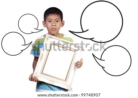young boy with photo frame and speech in studio on white background - stock photo