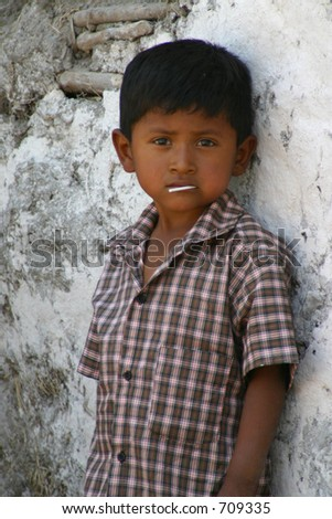 Young Boy with Sucker - stock photo