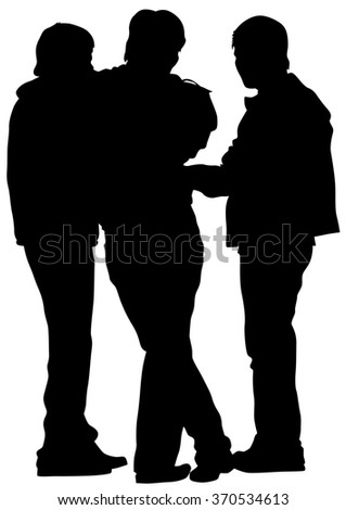 Young boys crowds on white background - stock photo