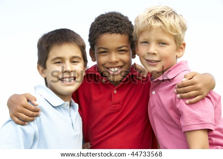 Young Boys In Playing In Park - stock photo