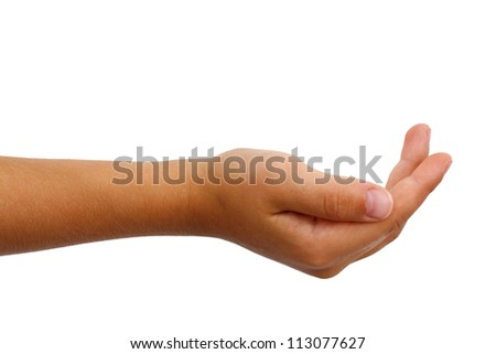Young boys palm gently cupped. Isolated on white. - stock photo