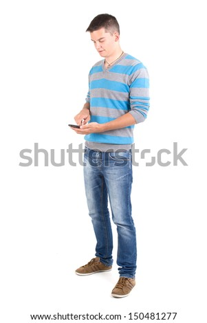Young boys use an application on your smartphone - stock photo