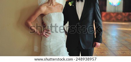Young bride an groom together. - stock photo