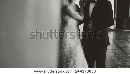 Young bride and groom together. - stock photo