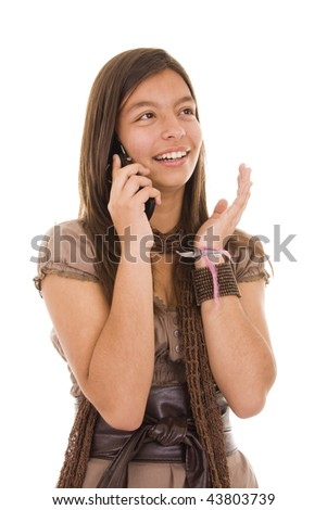 Young brunette calling by phone. Over white background. - stock photo