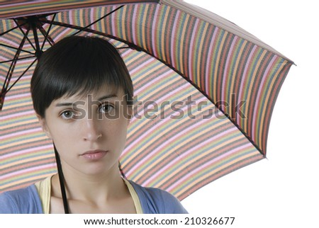 young brunette girl with umbrella, isolated - stock photo
