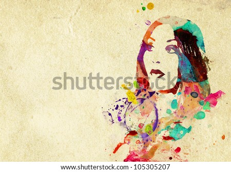 young brunette looks surprised, isolated on white - stock photo