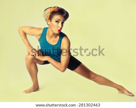 young brunette woman in sportswear doing gymnastics on white background - stock photo