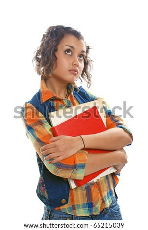 Young brunette woman (student) with books - looking up - stock photo