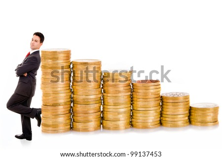 Young business man and coins, isolated on white - stock photo